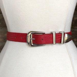Vintage Belt L Women's Leather Lizard Red